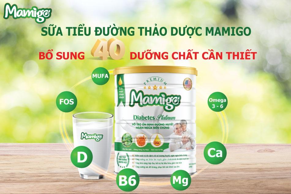 Hơn 40 dưỡng chất có trong sữa tiểu đường thảo dược Mamigo Diabetes Platinum