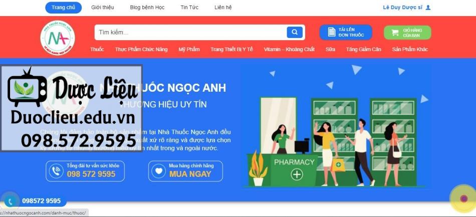 Trang web online của nhà thuốc Ngọc Anh